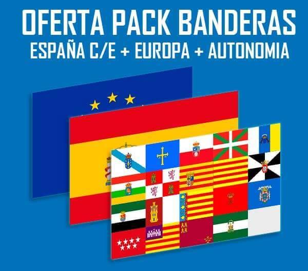 Pack de 3 Banderas, UE + España + Com. Autónoma