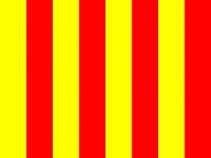 Bandera a franjas rojas y amarillas