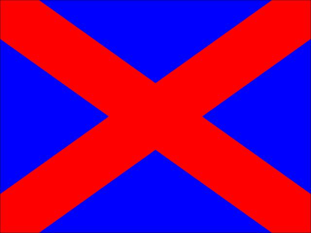 Bandera azul aspa diagonal roja