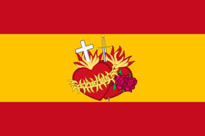 Bandera España con el Sagrado Corazón de Jesus y María