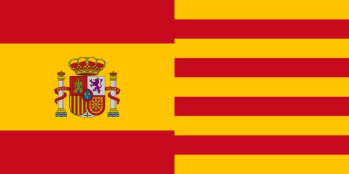 Bandera España con escudo y Cataluña