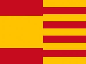Bandera España y Cataluña