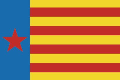 Bandera Estrelada de Esquerra Valenciana horizontal