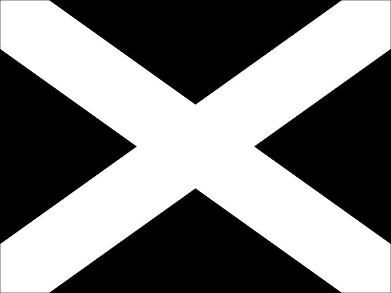 Bandera negra con cruz blanca