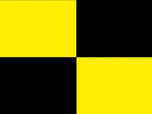 Bandera negra y amarilla a cuartos
