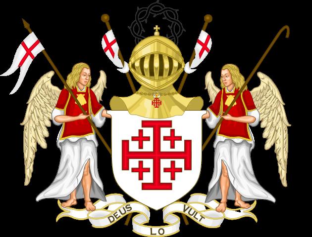 Bandera Orden del Santo Sepulcro de Jerusalén escudo de armas
