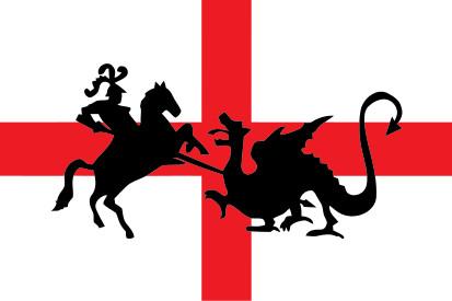 Bandera San Jorge a caballo y dragón