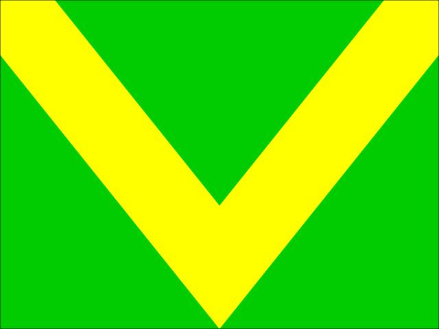 Bandera verde chevron amarillo