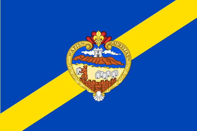 Bandera Colmenar de Oreja con escudo