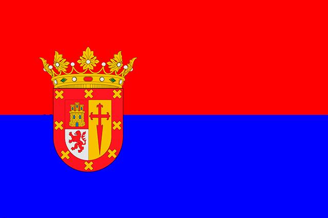 Bandera Villanueva del Rio y Minas con escudo