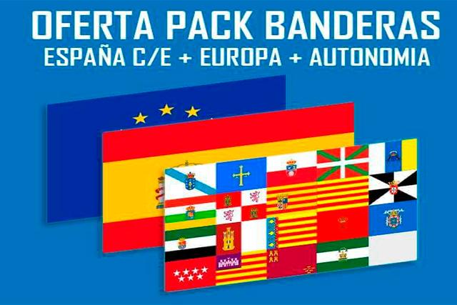 Banderas Pack 3 banderas para Colegios