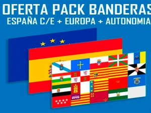 Banderas Pack 3 España + Com.Autónoma + Localidad